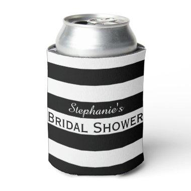 Black and White Striped Bridal Shower Can Cooler