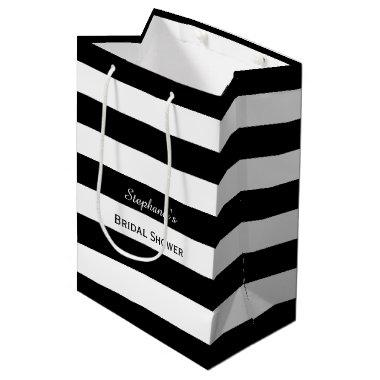 Black and White Striped  Medium Gift Bag