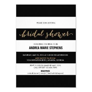 Black and White Stripes Gold Glitter Bridal Shower Invitations
