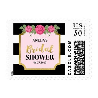 Black and White Stripes Pink Roses  Postage