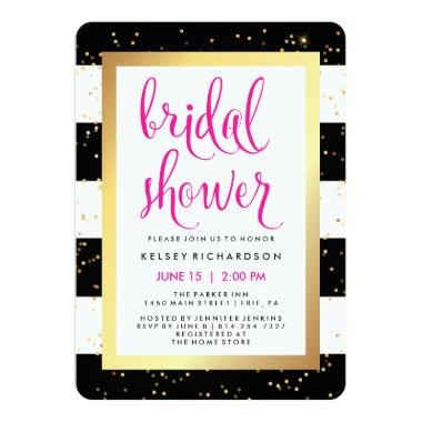 Black and White Stripes with Gold Bridal Shower Invitations