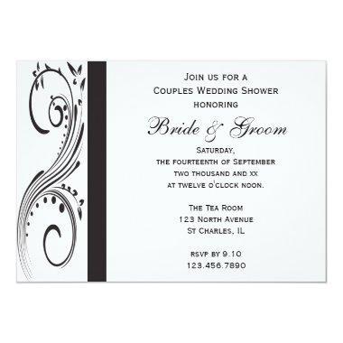 Black and White Swirls Couples Wedding Shower