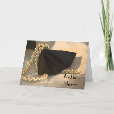 Black Bow Tie and Pearls Wedding Shower Invitations