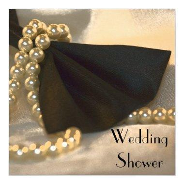 Black Bow Tie White Pearls Couples Wedding Shower Invitations