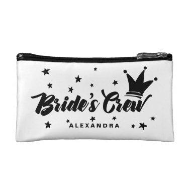 Black Bride's Crew Typography Crown and Stars Cosmetic Bag