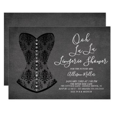Black Corset Lingerie Bridal Shower Invitations