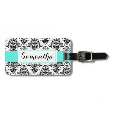 Black Damask Luggage Bag Tag