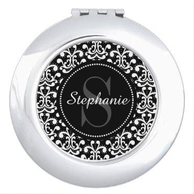 Black Damask Monogram Personalized Compact Mirror