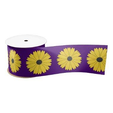 Black Eyed Susan on Eggplant Purple Pattern Satin Ribbon