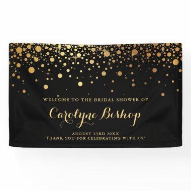 Black | Faux Gold Confetti Bridal Party Banner