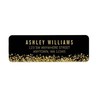 Black Faux Gold Glitter Label