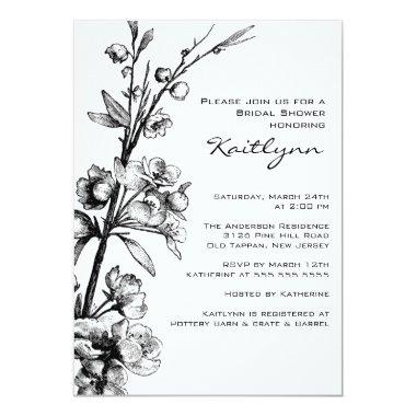 Black Floral on White Bridal Shower Invitations