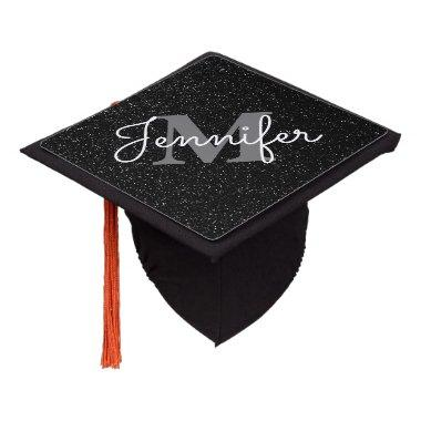 Black Glitter Graduation Cap Topper