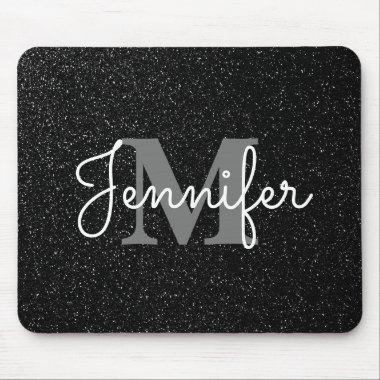 Black Glitter Mouse Pad