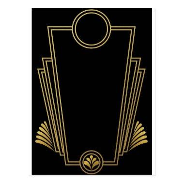 Black Gold Art Deco Post Invitations