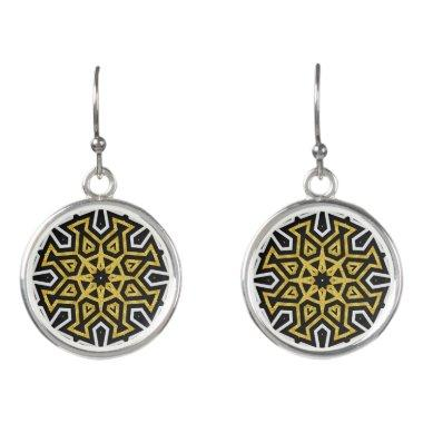 Black Gold Aztec Sun Tribe Love Mandala Earrings