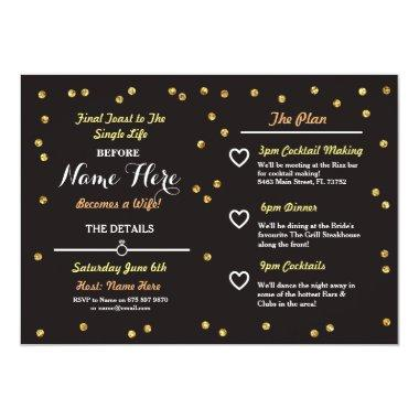Black & Gold Glitter Bachelorette Itinerary Invite