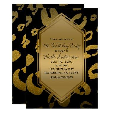 Black Gold Leopard Print Birthday Party Any Event Invitations