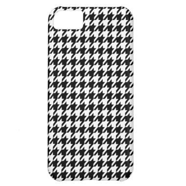 Black Houndstooth Case For iPhone 5C