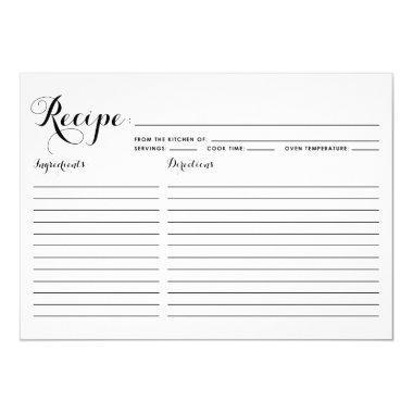 Black Modern Calligraphy Striped Recipe Invitations