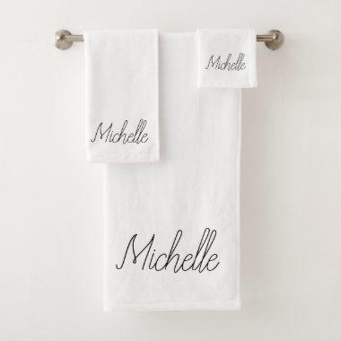 Black Name Bath Towel Set