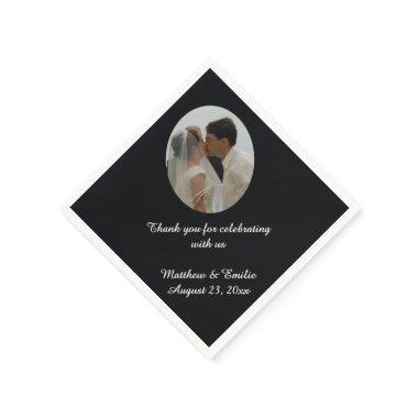 Black Personalized Wedding Photo Napkins