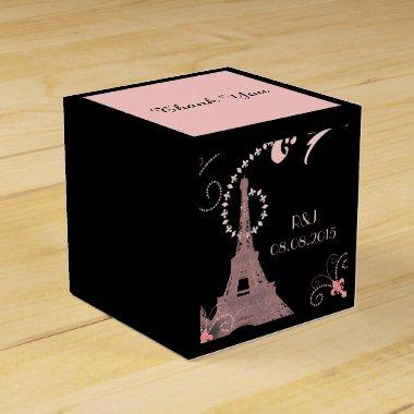 black pink eiffel tower vintage paris wedding favor box