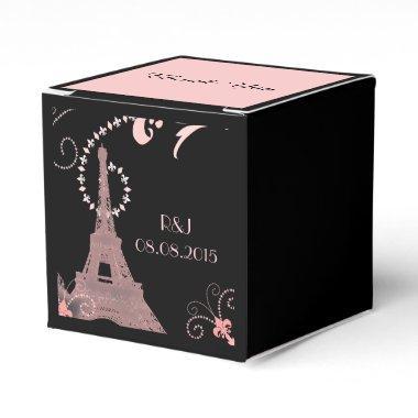 black pink eiffel tower vintage paris wedding favor box