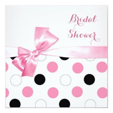 Black, pink, white polka dots