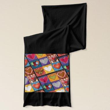 Black scarf with colourful multi hearts design.