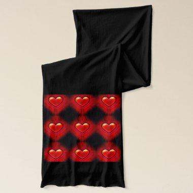Black scarf with pulsating red heart design.
