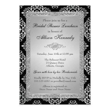 Black, Silver Glitter Damask  Invite