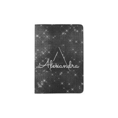 Black Sparkle Bling Girly Monogram Name Passport Holder