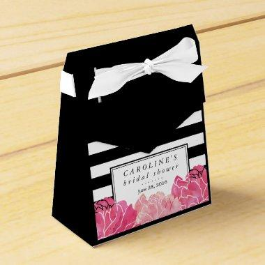 Black Stripe & Pink Peony  Favor Box