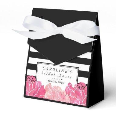 Black Stripe & Pink Peony Bridal Shower Favor Box