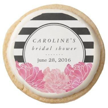 Black Stripe & Pink Peony Bridal Shower Round Shortbread Cookie