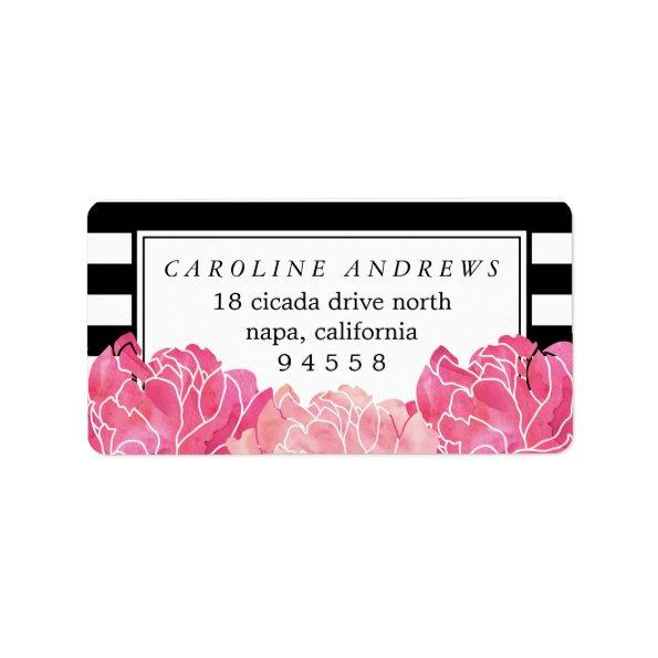 Black Stripe & Pink Peony Watercolor Return Label