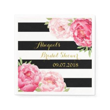 Black Stripe Pink Watercolor Bridal Shower Napkins