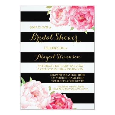 Black Stripe Pink Watercolor Flowers