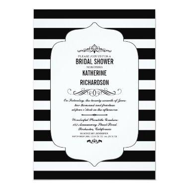 Black Stripes Ascot Chic Bridal Shower Invites