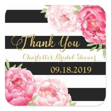 Black Stripes Gold Pink Floral  Square Sticker