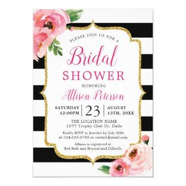 Black Stripes Pink Floral Bridal Shower Invitations