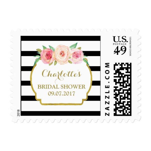 Black Stripes Pink Floral  Stamps