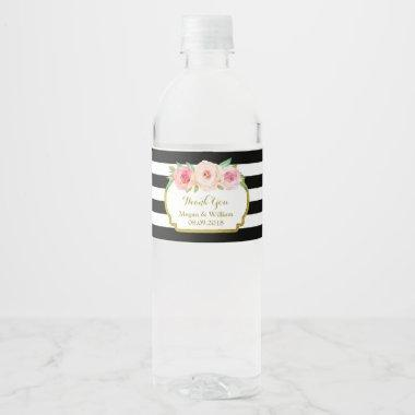 Black Stripes Pink Floral Gold Water Bottle Label