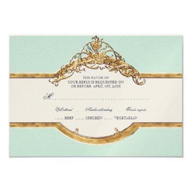 Black Tie Elegance 2, Golden Wedding Aqua RSVP Card