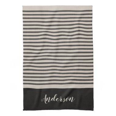 Black Turkish Stripes Monogram | Farmhouse Kitchen Towel