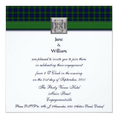 Black Watch Tartan Engagement Party Invitations