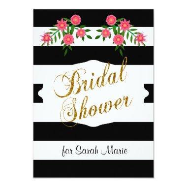 Black & White Bridal Shower | Pink Flowers Invitations