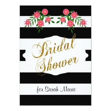 Black & White Bridal Shower | Pink Flowers Invitations