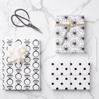 Black & White Bridal/Wedding Shower Wrapping Paper Sheets